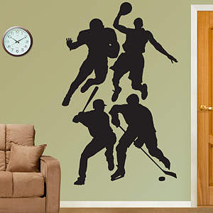 Assorted Sports Athletes Silhouettes Fathead Wall Decal